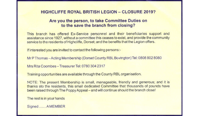 Highcliffe Royal British Legion Possible Closure