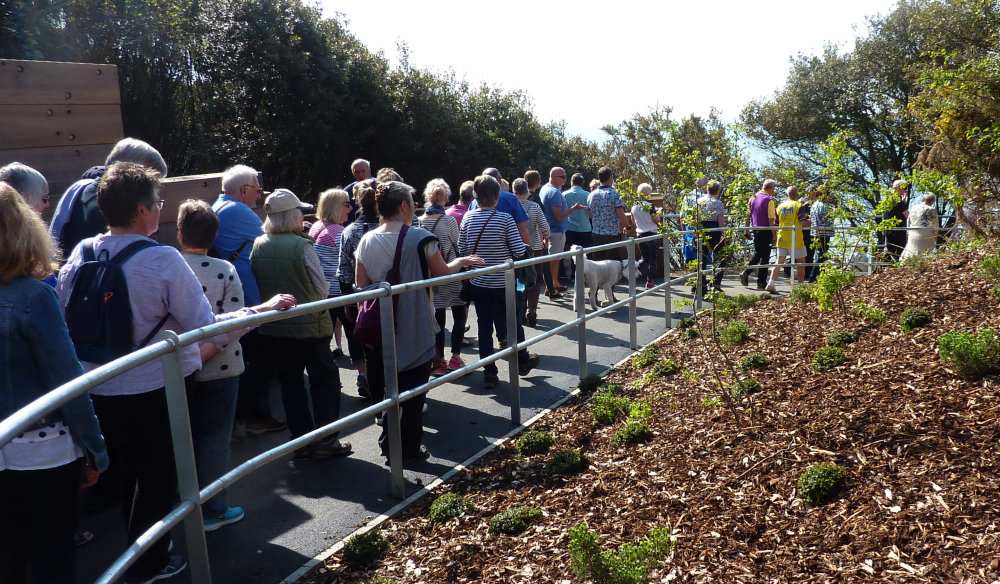 Crowds arrive for the residents opening of the Zig Zag Path